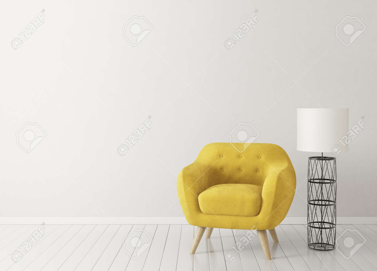 photo stock illustration modern living room with yellow armchair and lamp scandinavian interior design furniture 3d render il