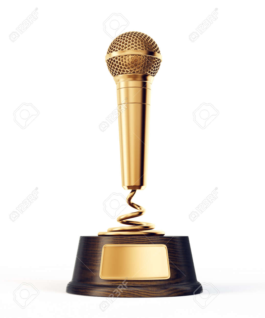 golden microphone award isolated on a white. 3d illustration - 104174122