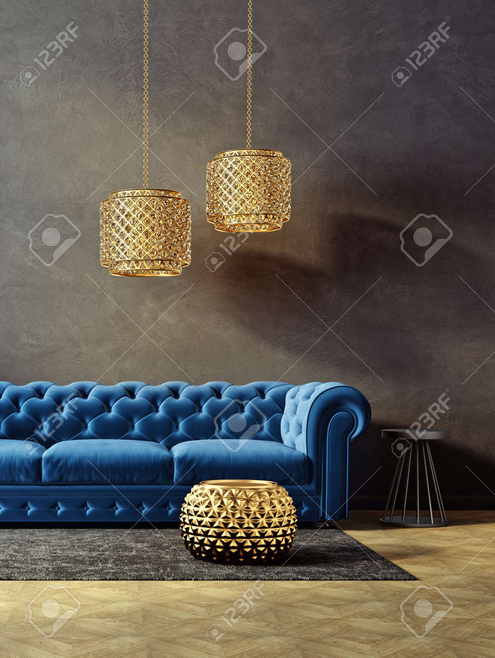 Modern Living Room With Blue Sofa And Lamp Scandinavian Interior Stock Photo Picture And Royalty Free Image Image 125852004