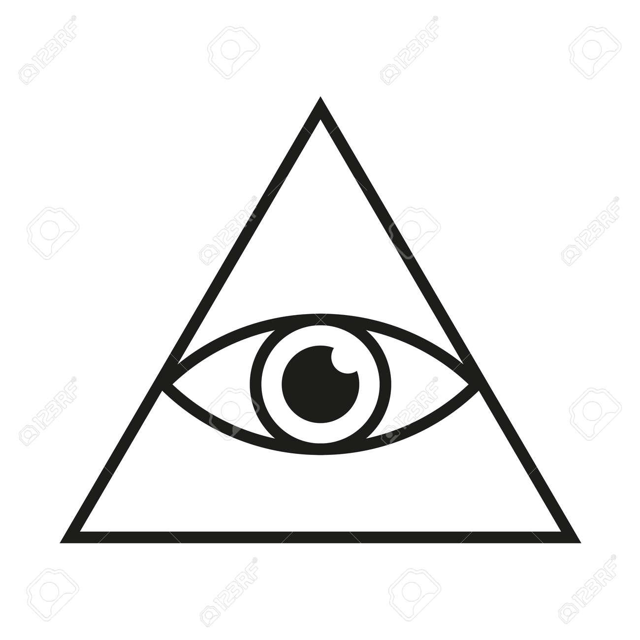 Eye in triangle simple minimalistic symbol. All seeing Illuminati eye pyramid isolated vector illustration - 153195681