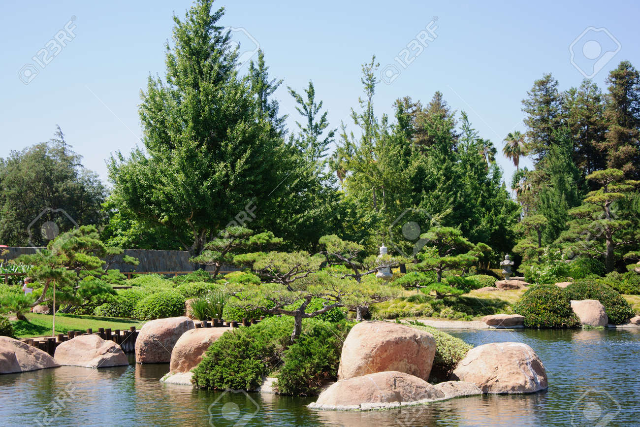Beautiful View Of Japanese Garden In Los Angeles Park California