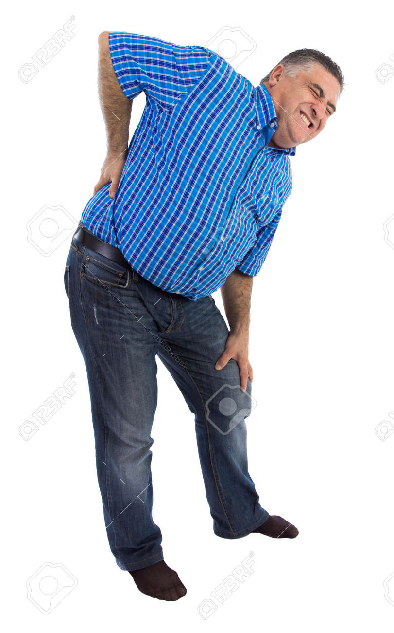 Adult male complaining his backache,full length Stock Photo - 17379709