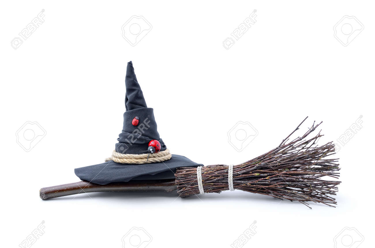 Magic Broom and Witch Hat on a White Background - 88119386