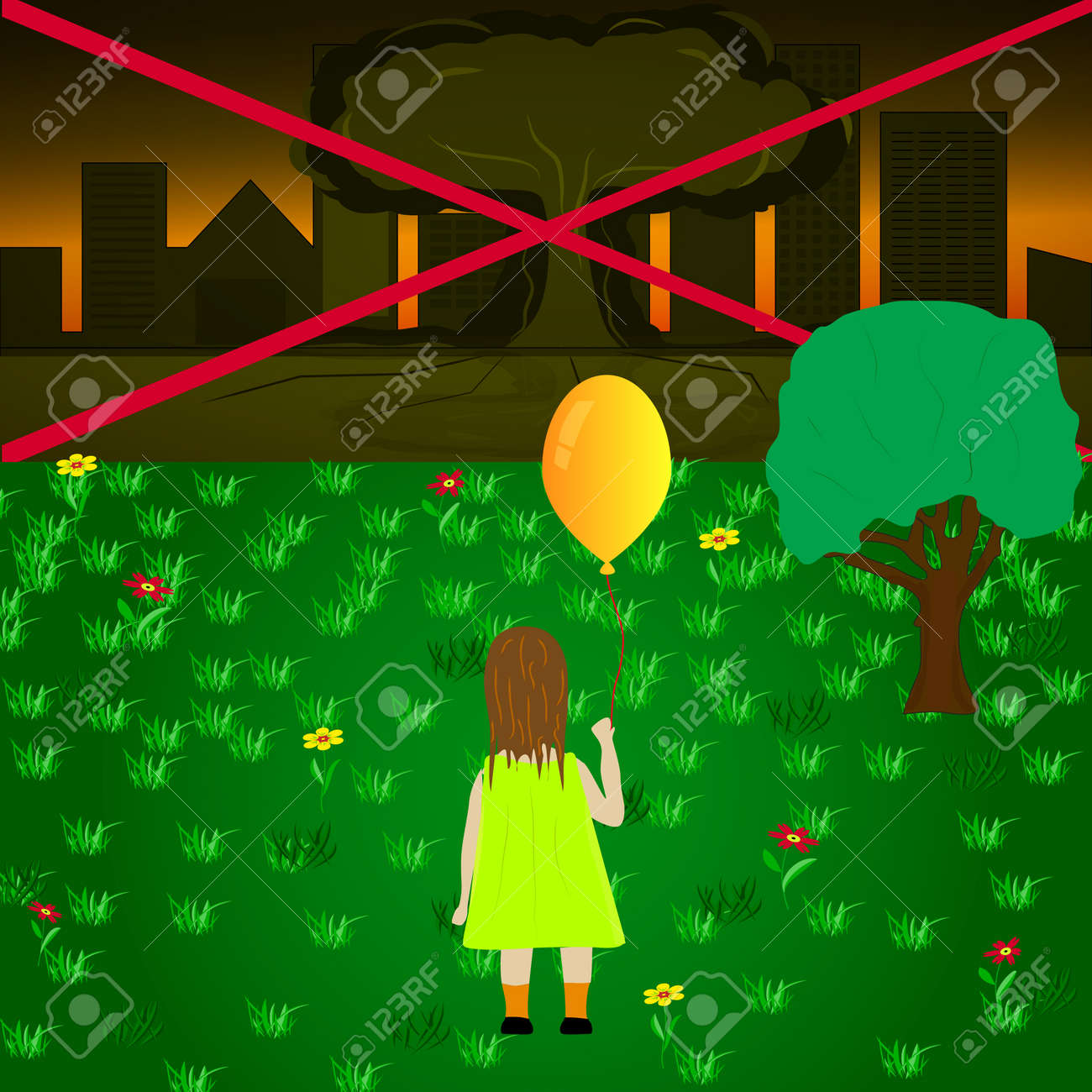 Vector image of a child with a balloon looking at the atomic explosion Stock Vector - 29428879