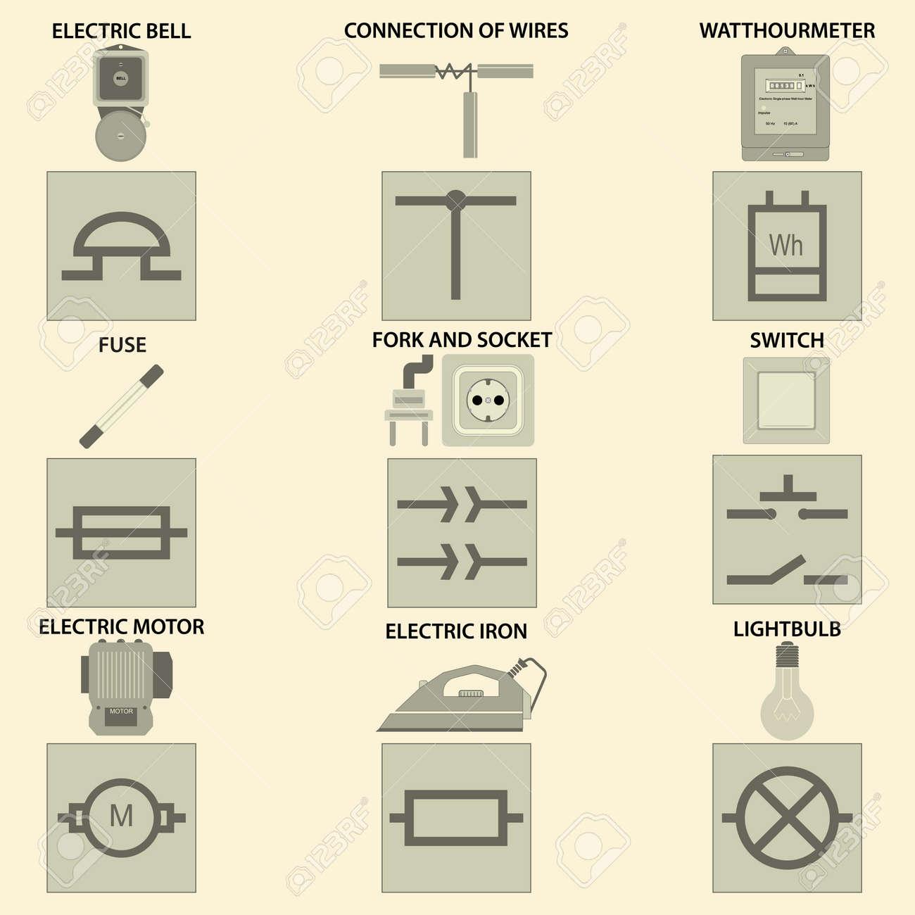 Icons Mit Dem Vektorbild Der Elemente Der Elektrischen Kette ...