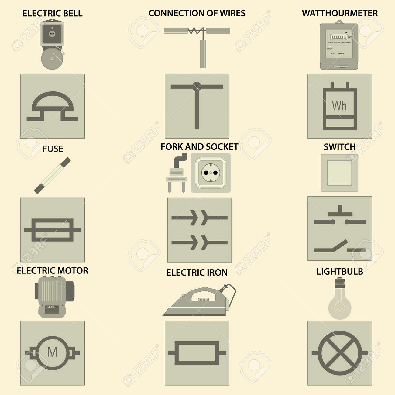 Icons With The Vectorial Image Of Elements Of Electric Chain ...