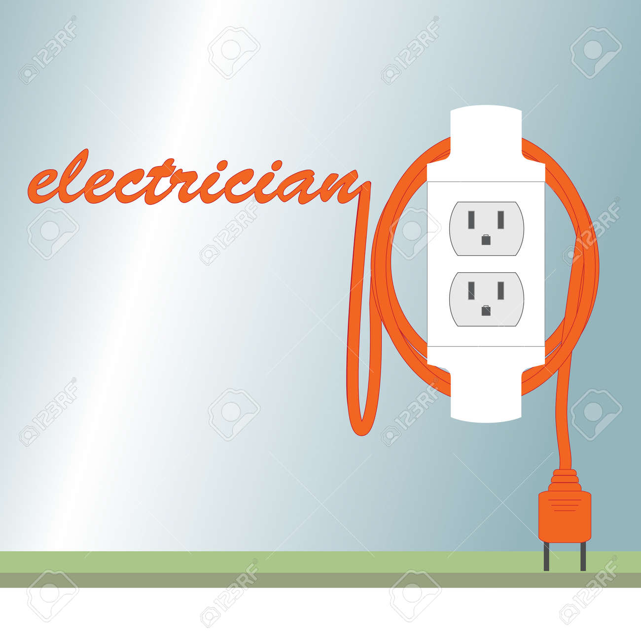 Poster representing electricianinscription in the form of an poster representing electricianinscription in the form of an electrical cordvivid illustration business reheart Images