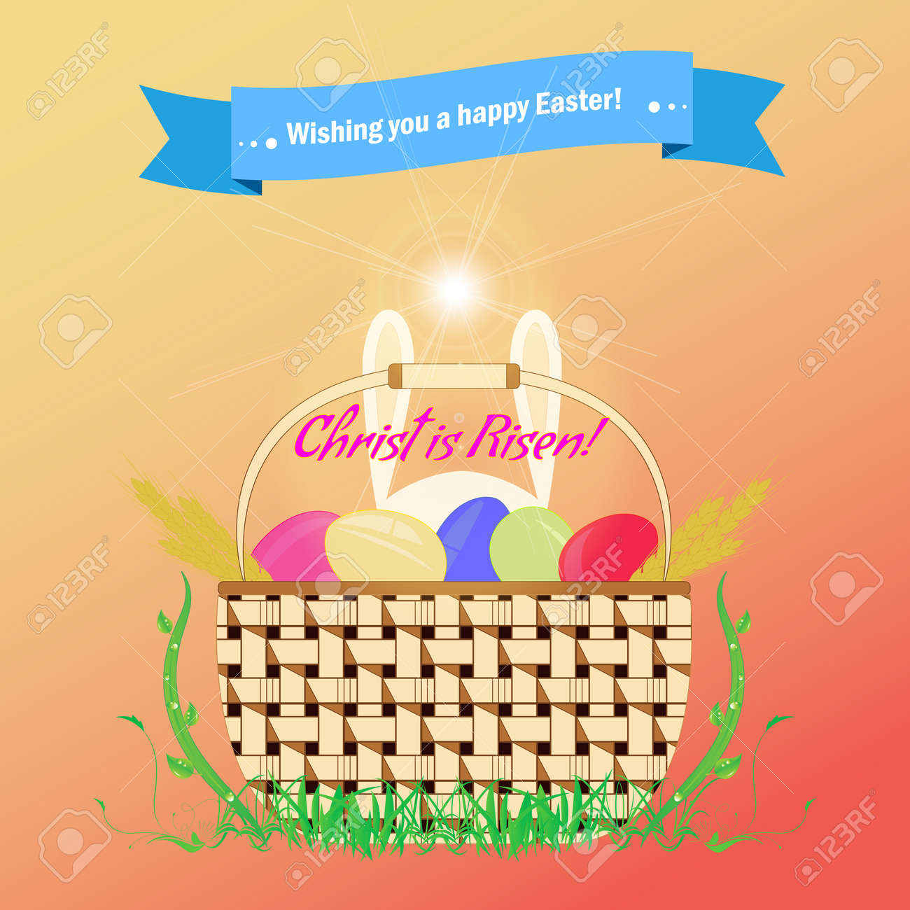 Basket with easter eggs is standing on the grass feast of holy basket with easter eggs is standing on the grass feast of holy easter greeting kristyandbryce Choice Image
