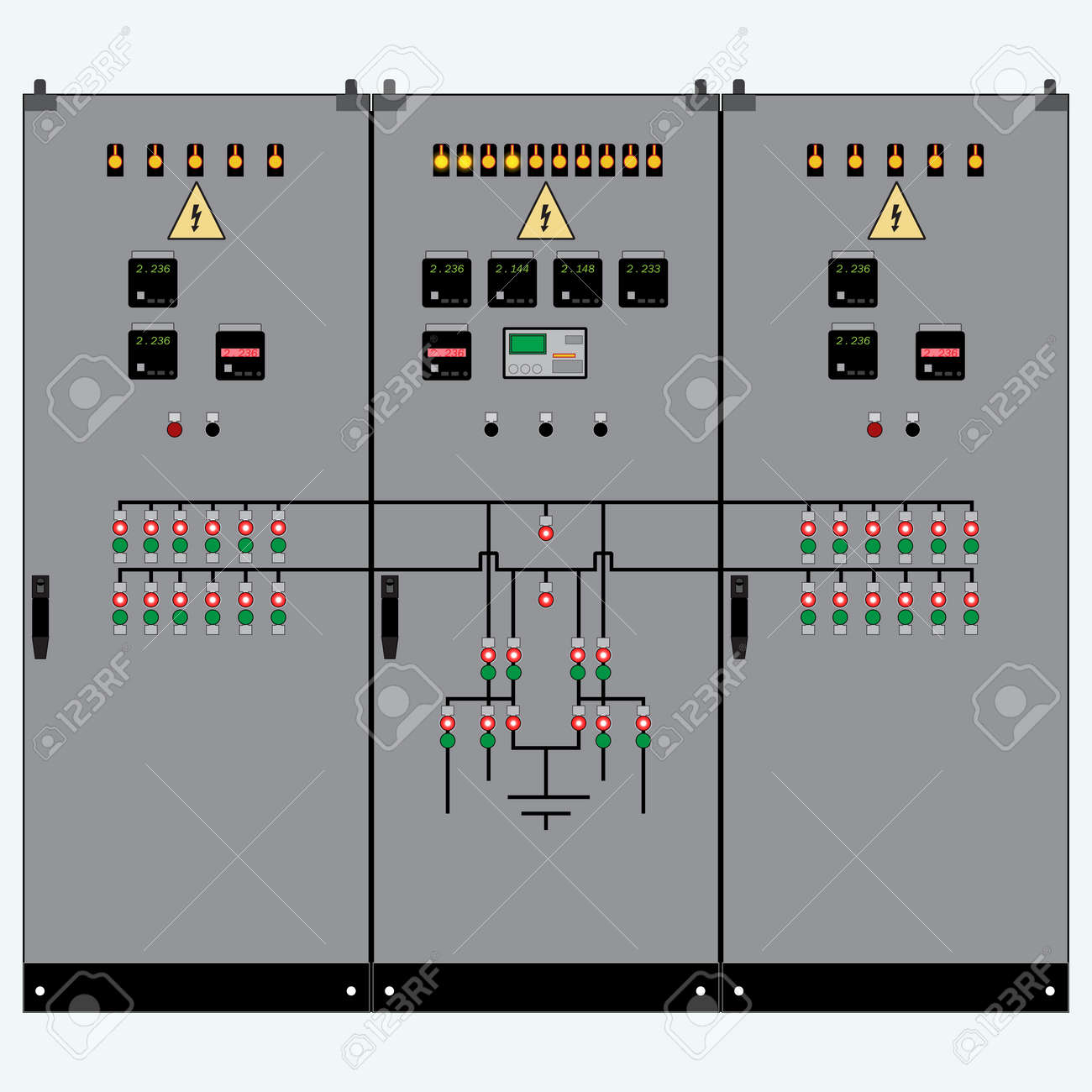 Picture of the electrical panel, electric meter and circuit breakers,high-voltage transformer - 51443545