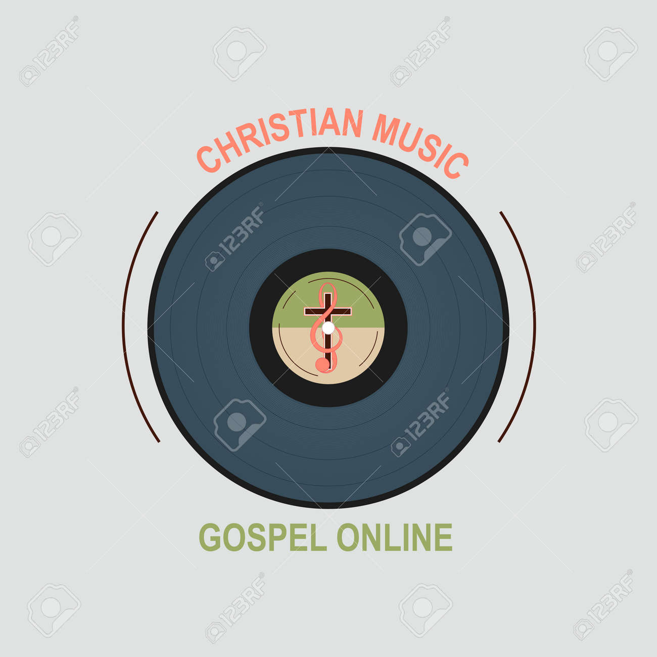 Vinyl record with christian logo in the middle symbolizes a vinyl record with christian logo in the middle symbolizes a christian music studio cross biocorpaavc