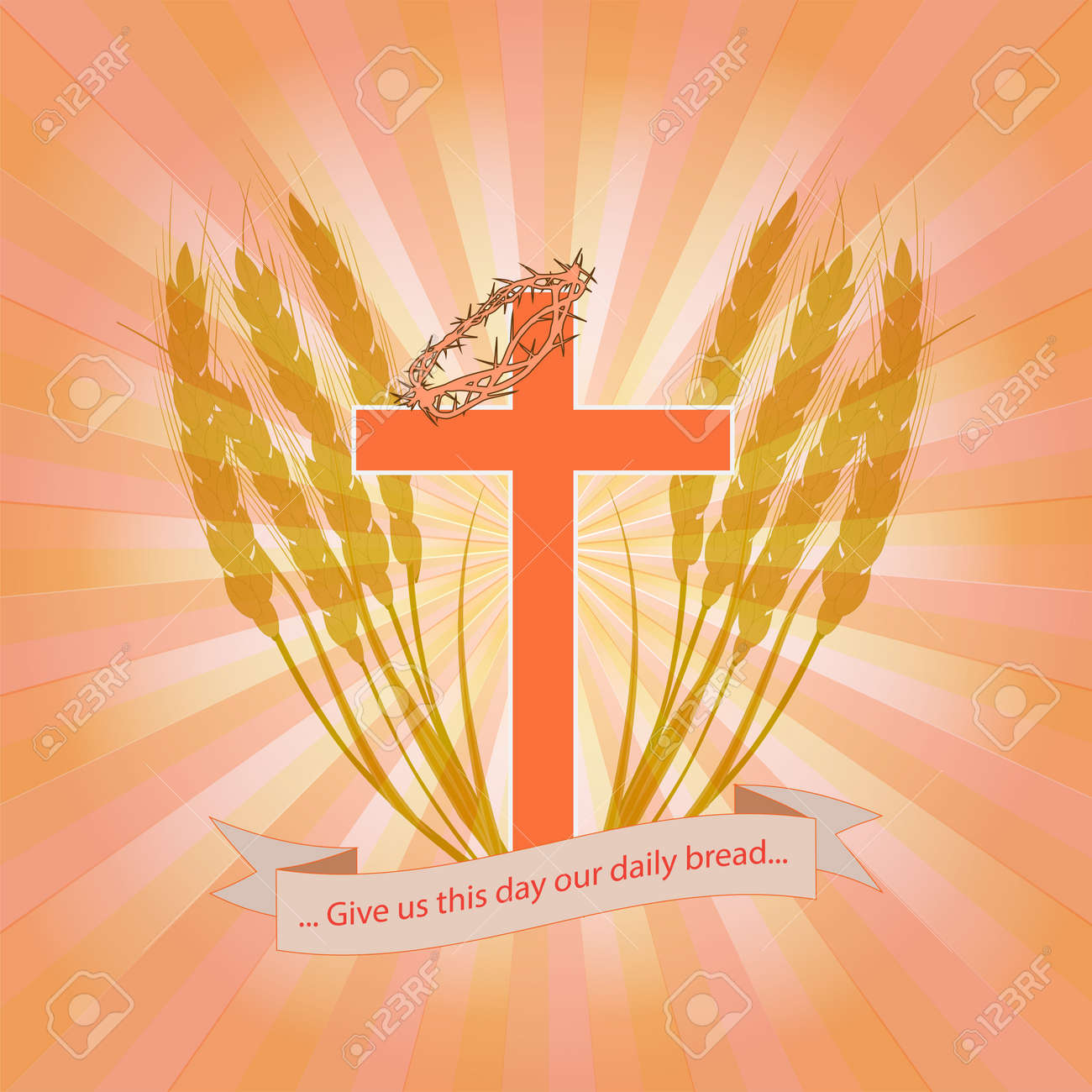 Christian cross with a crown of thorns in wheat ears the christian christian cross with a crown of thorns in wheat ears the christian symbolizes the salvation buycottarizona Choice Image