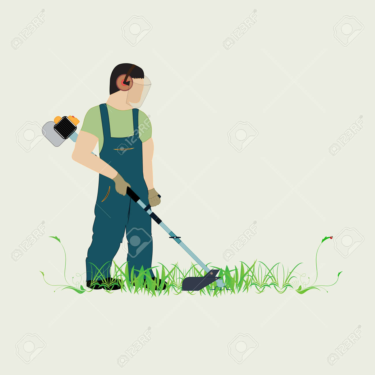 A man with a trimmer cuts grass on a white background. A man in overalls cuts grass with a trimmer. Worker cutting grass in garden with the weed trimmer. - 102004566