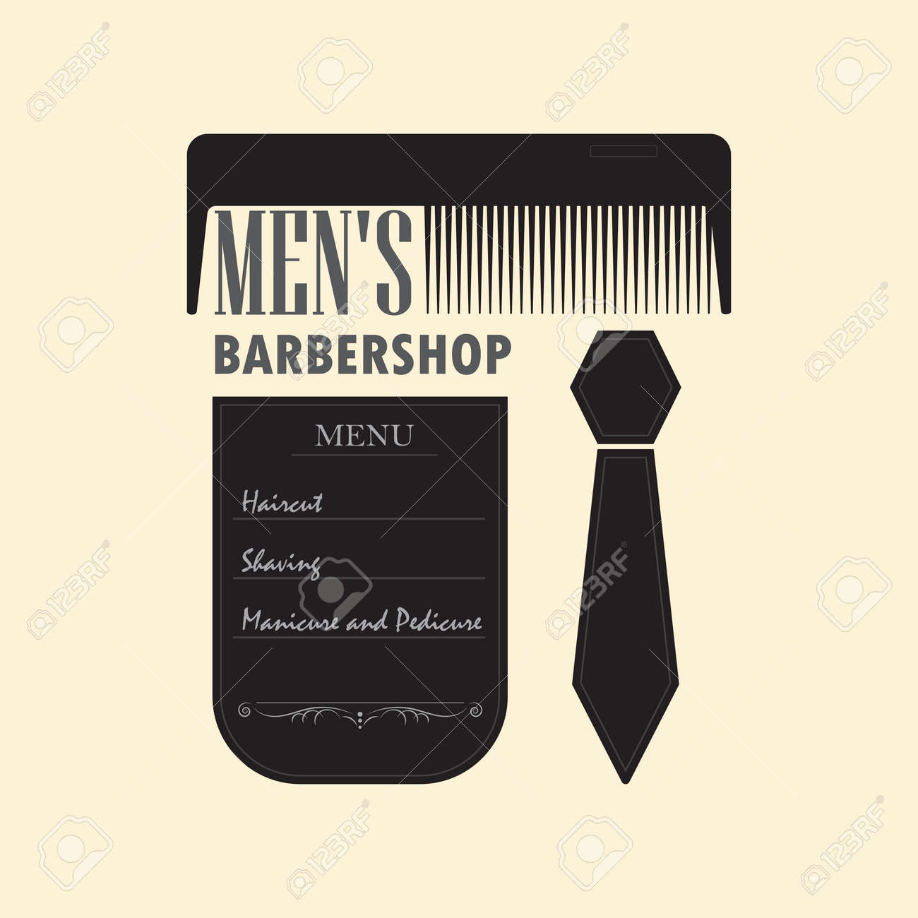 Mens hair salon with a menu sign. Signboard barber shop with..