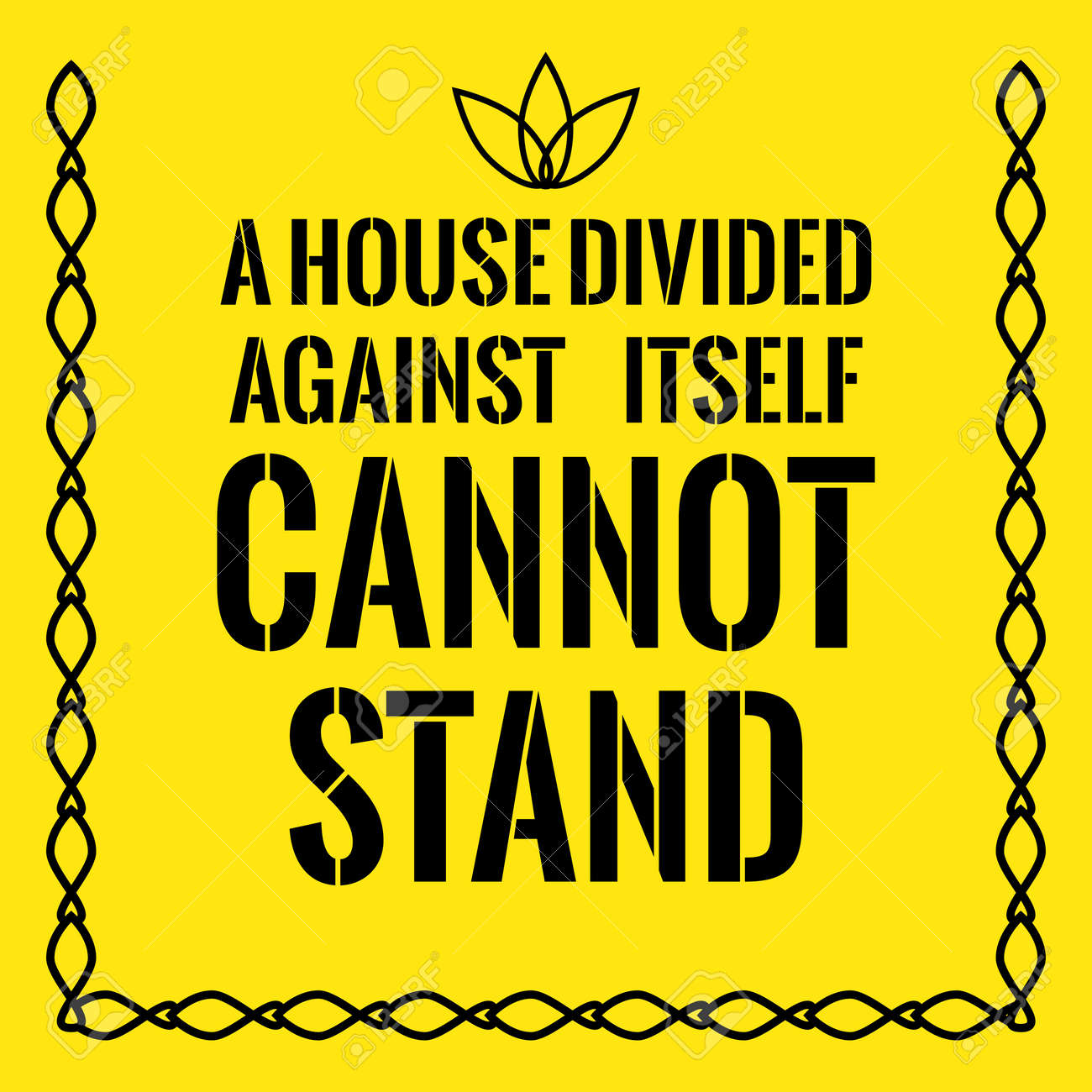 A House Divided Against Itself Cannot Stand. On Yellow Background. Stock