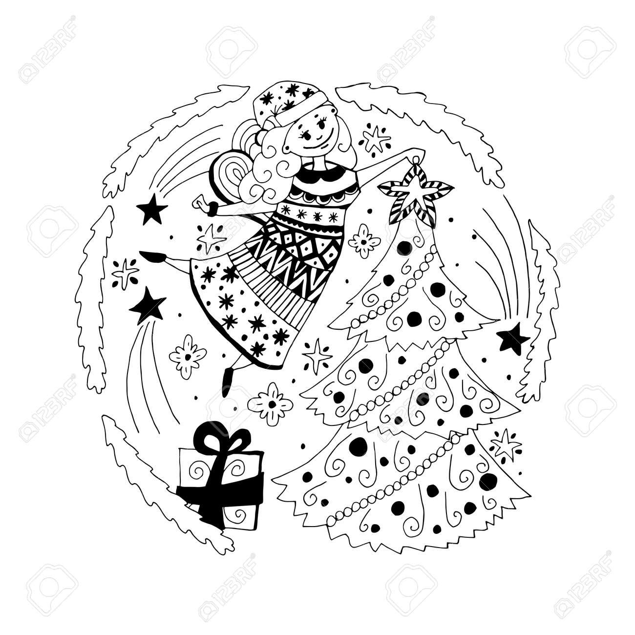 Estilo De Dibujos Animados Dibujado ángel De La Navidad, Hadas ...