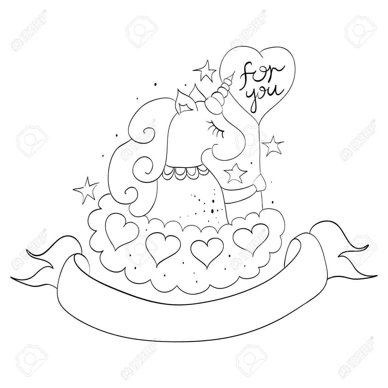 Ilustración De Estilo De Dibujos Animados Del Unicornio En Una Nube Con Una Cinta Decorativa Para El Texto Elemento Para Niños Y Adultos Para
