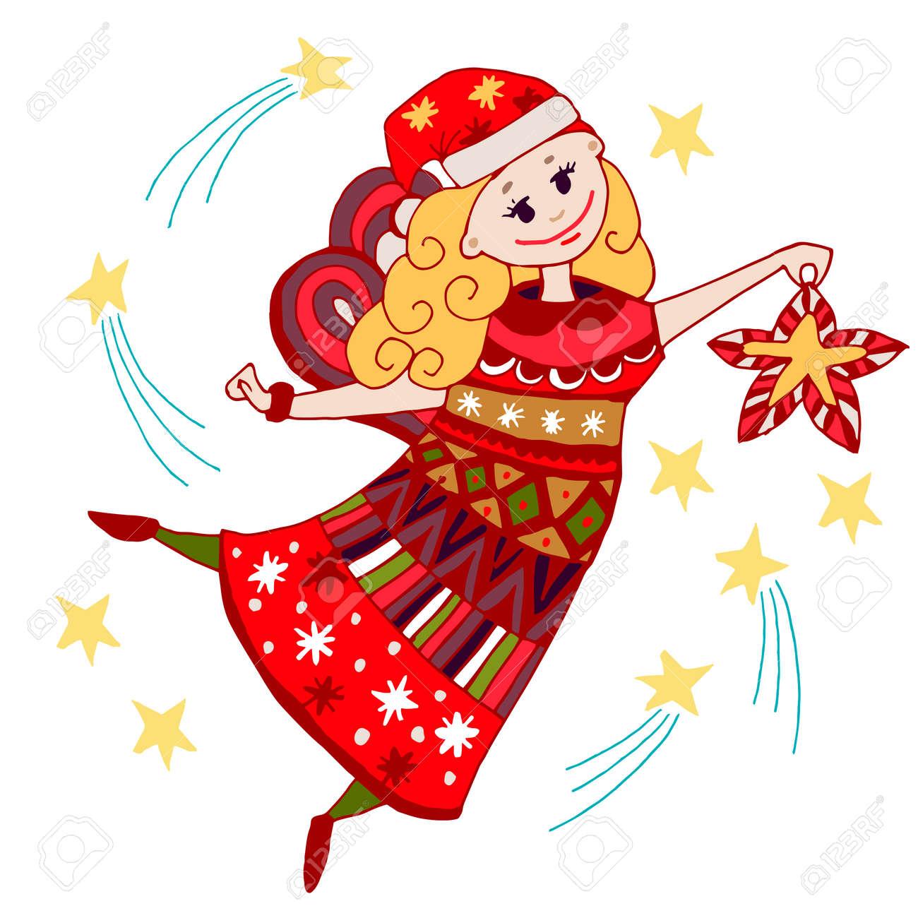 Estilo De Dibujos Animados Drenados Coloreado Navidad Del ángel Hada Ilustración Sobre Fondo Blanco Elemento Para Niños Y Adultos Libro De