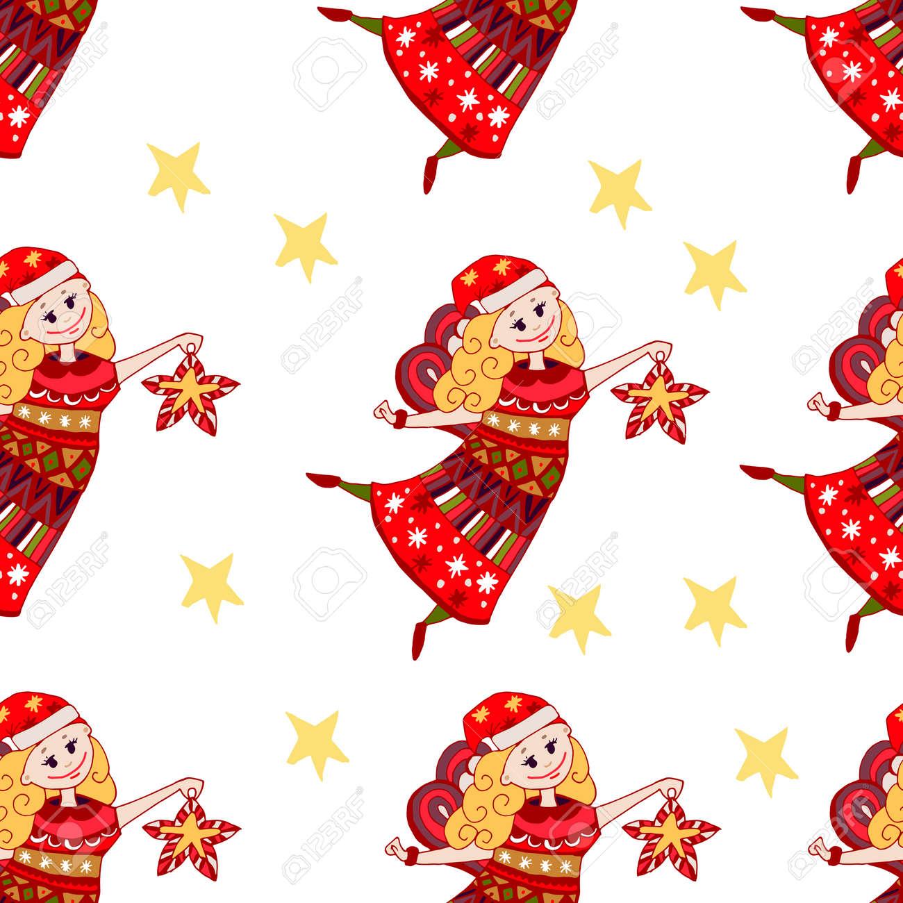 Estilo De Dibujos Animados Drenados Coloreado Navidad Del ángel Hada Modelo En El Fondo Blanco Elemento Para Niños Y Adultos De Libro Para