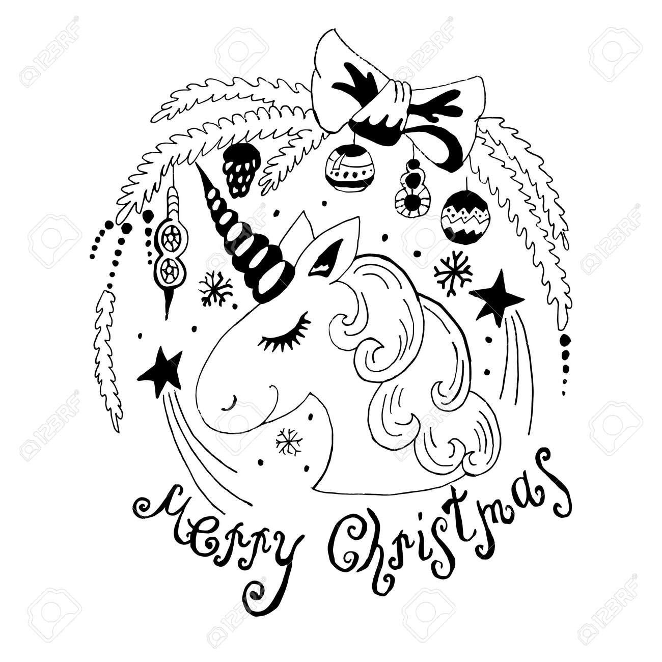 Estilo De Dibujos Animados Dibuja La Ilustración De Navidad De Unicornio Sobre Fondo Blanco Elemento Decorativo Para Niños Y Adultos Libro De
