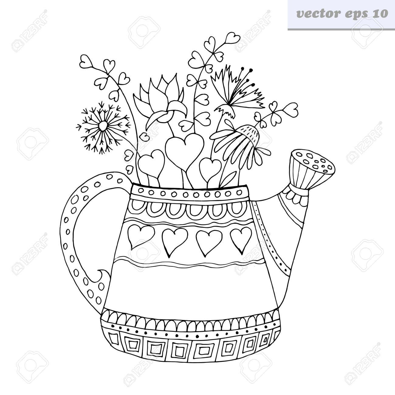 Estilo De Dibujos Animados Mano Dibujado Vector Regadera Con Flores ...