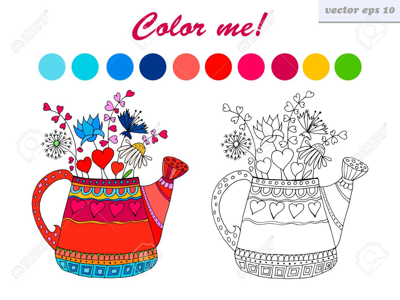 Estilo De Dibujos Animados Vector Dibujado A Mano Regadera Con ...