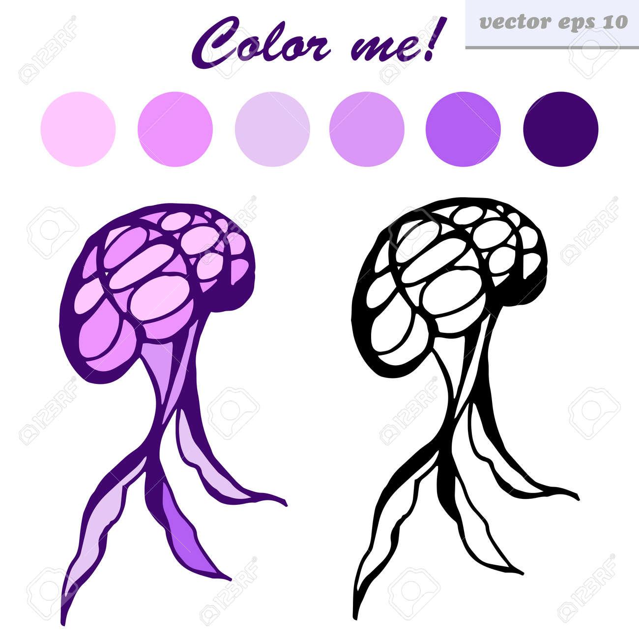 Vector Divertidas Estilo De Dibujos Animados Medusas. Ilustración ...