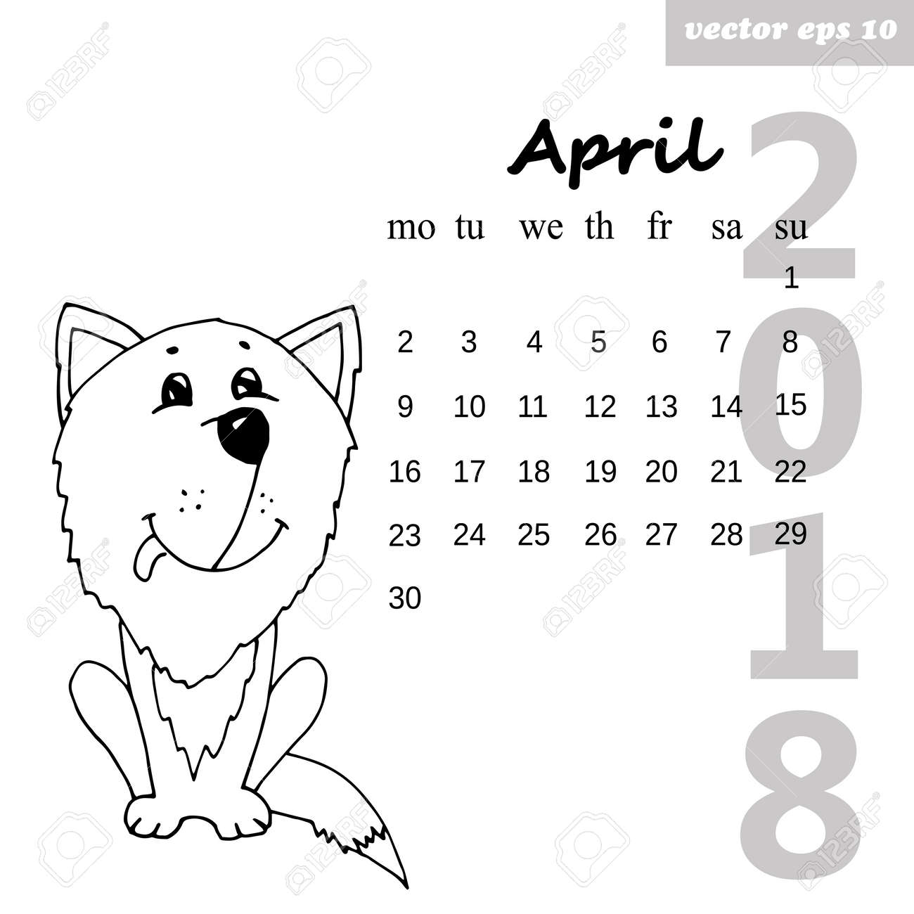 month april 2018 calendar for the next coming year hand drawn illustration element