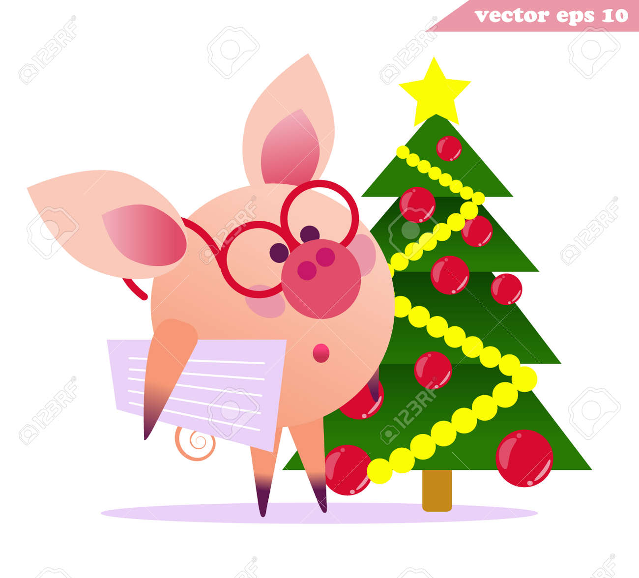 funny little intellegent pig with glasses and newspaper staying beside small new year fir tree