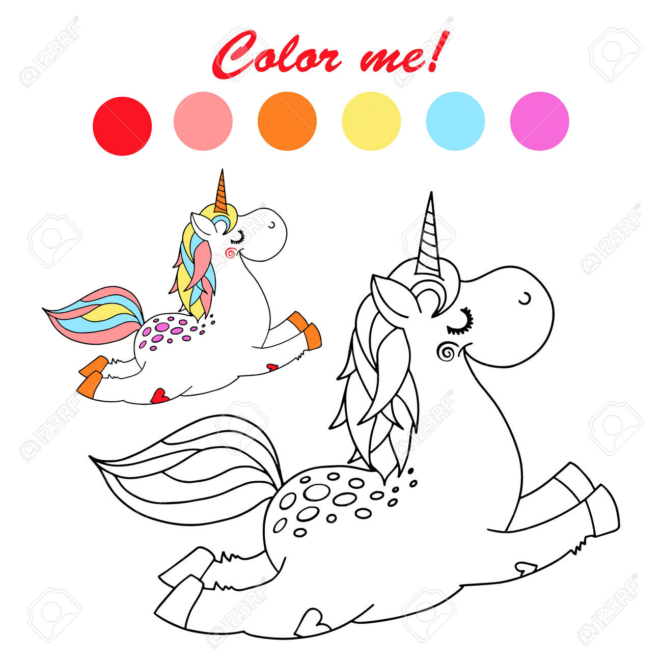 Hand drawn vector outlined funny unicorn coloring book page - 131561737