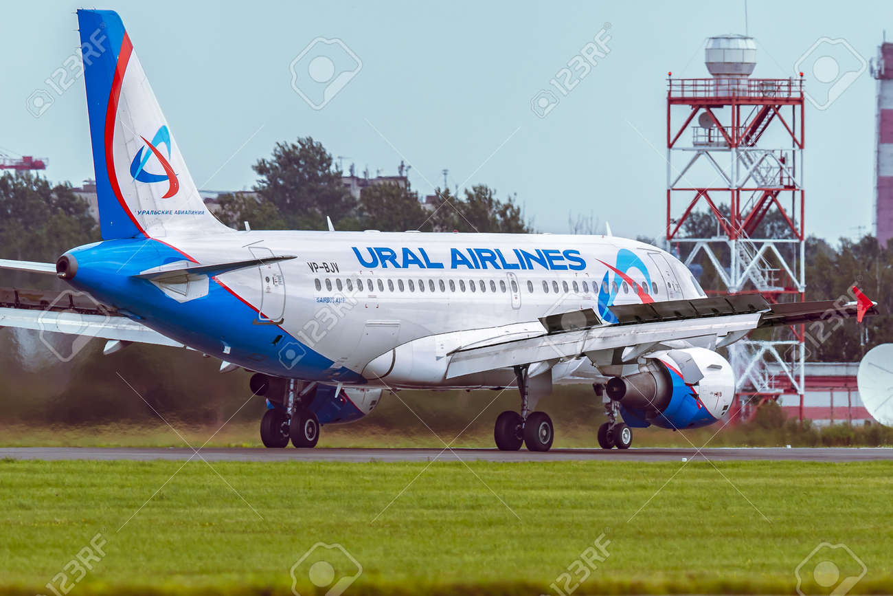Aircraft Airbus A319 of Ural Airlines is taxi on the runway