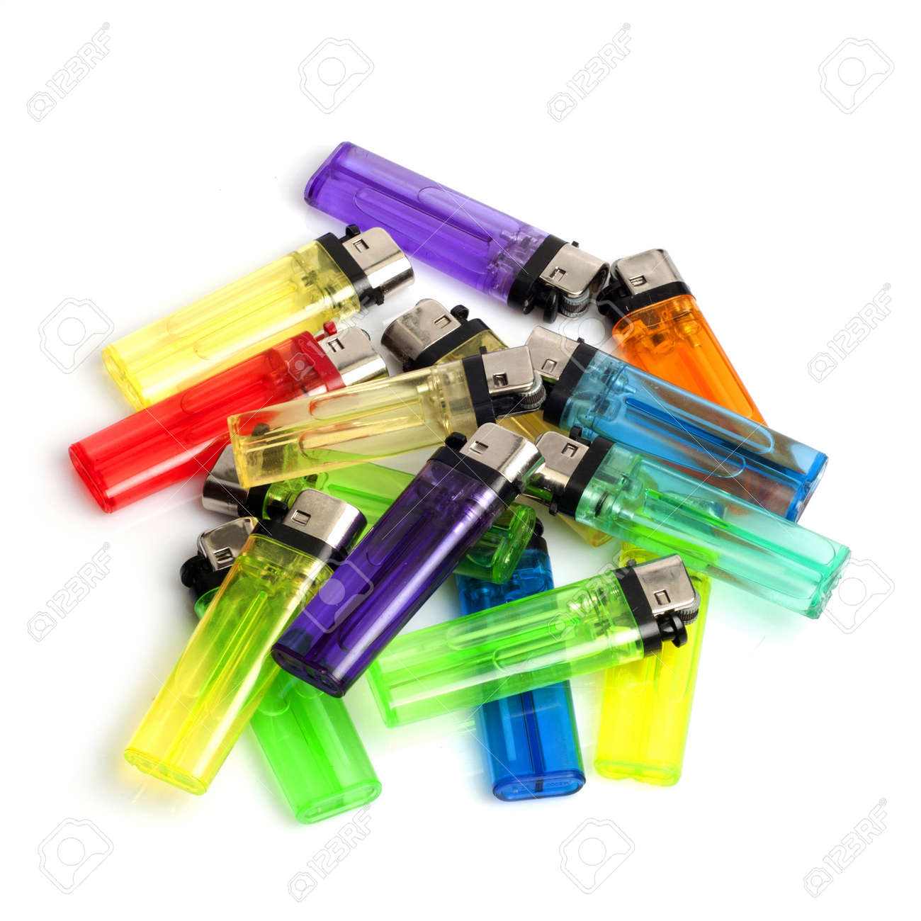 A bunch of lighters isolated on white background Stock Photo - 17937205
