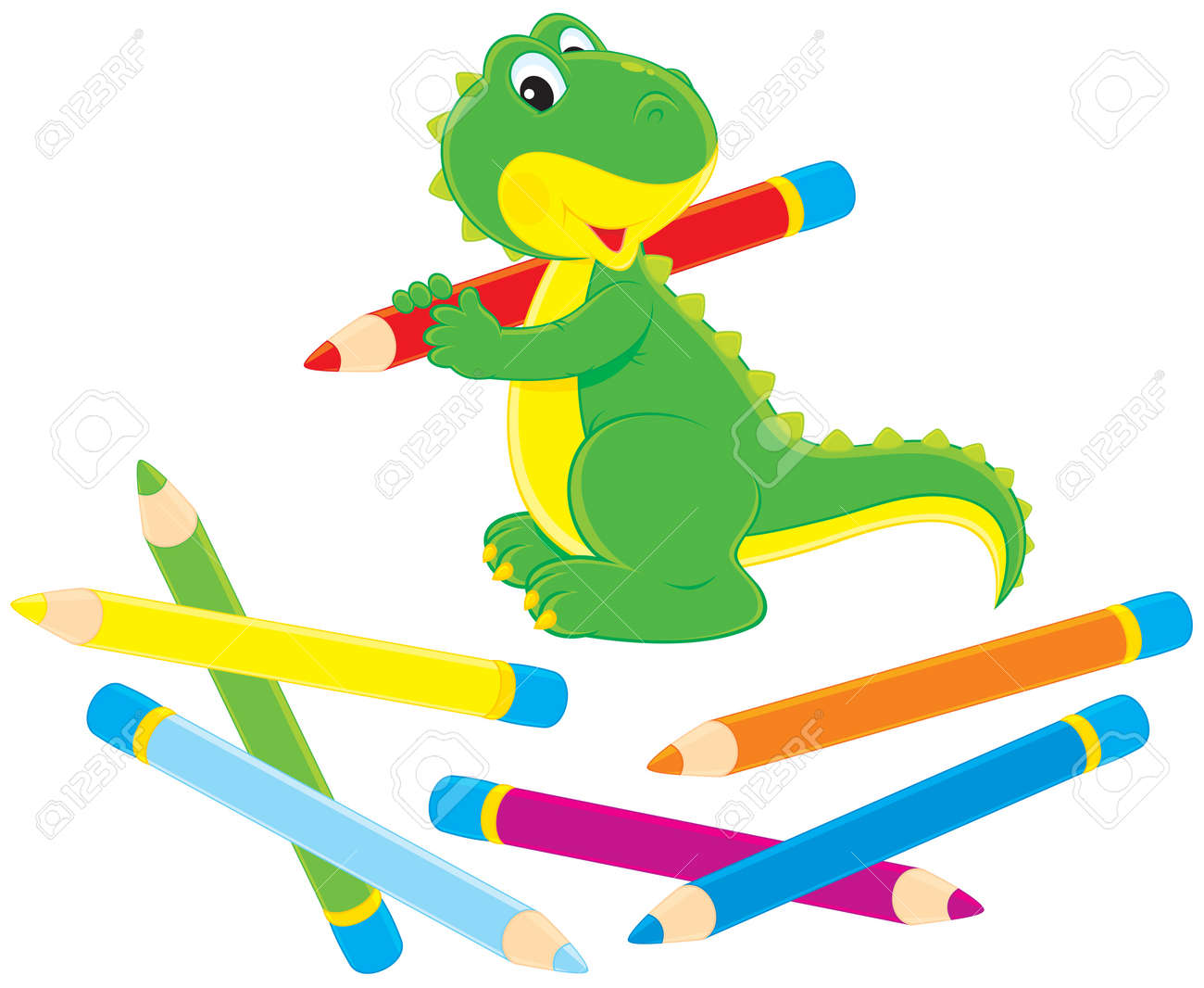 Green dinosaur drawing with color pencils Stock Vector - 11674806