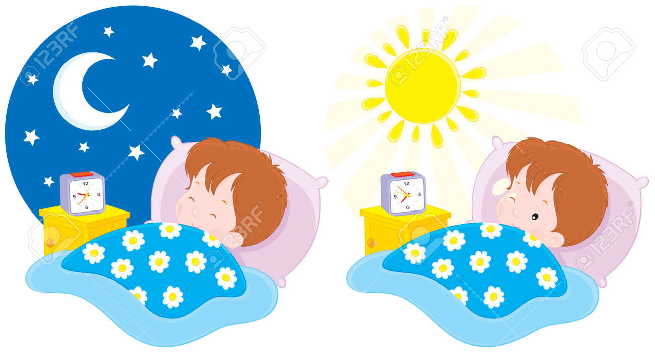 Boy sleeping and waking up Stock Vector - 11827494