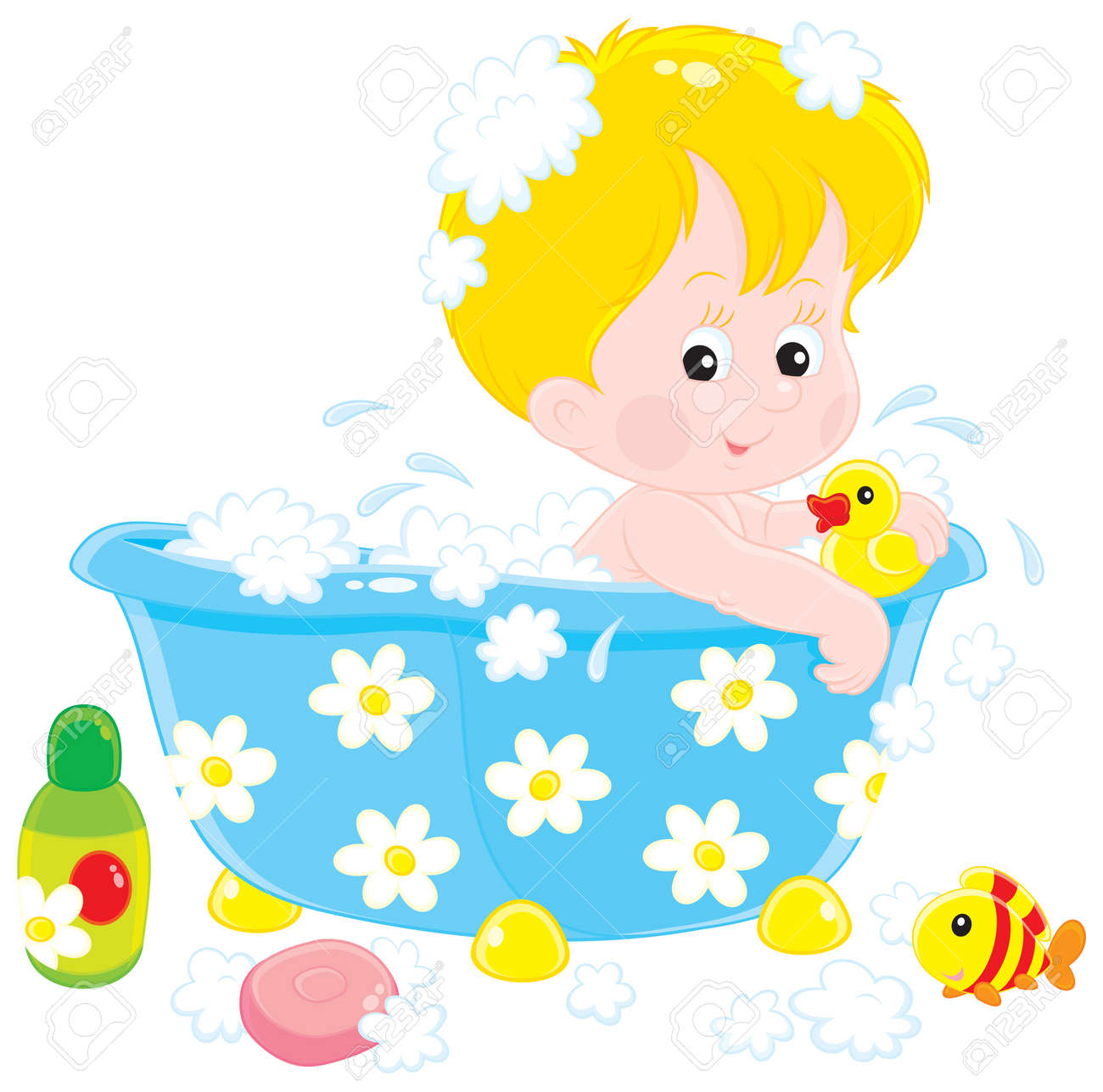 Child Bathing With Toys Royalty Free Cliparts, Vectors, And Stock ...
