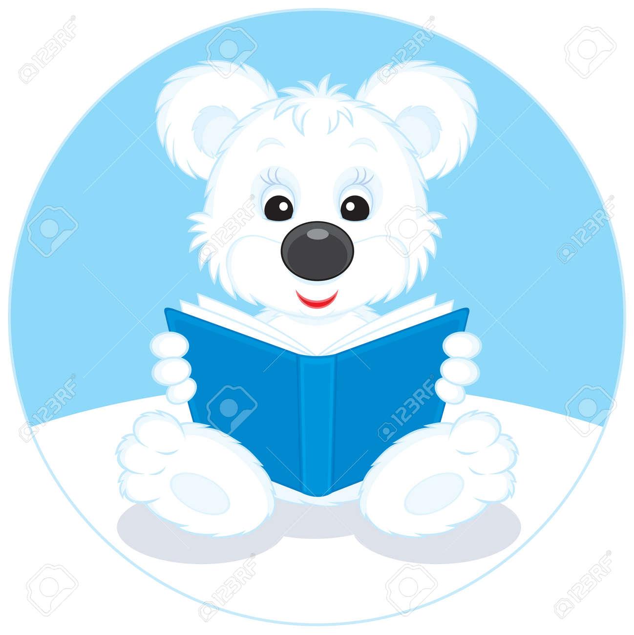 Polar bear cub reading a blue book Stock Vector - 11995003