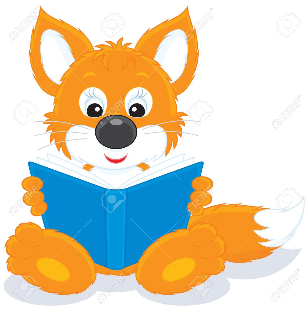 Fox cub reading a book Stock Vector - 12018364