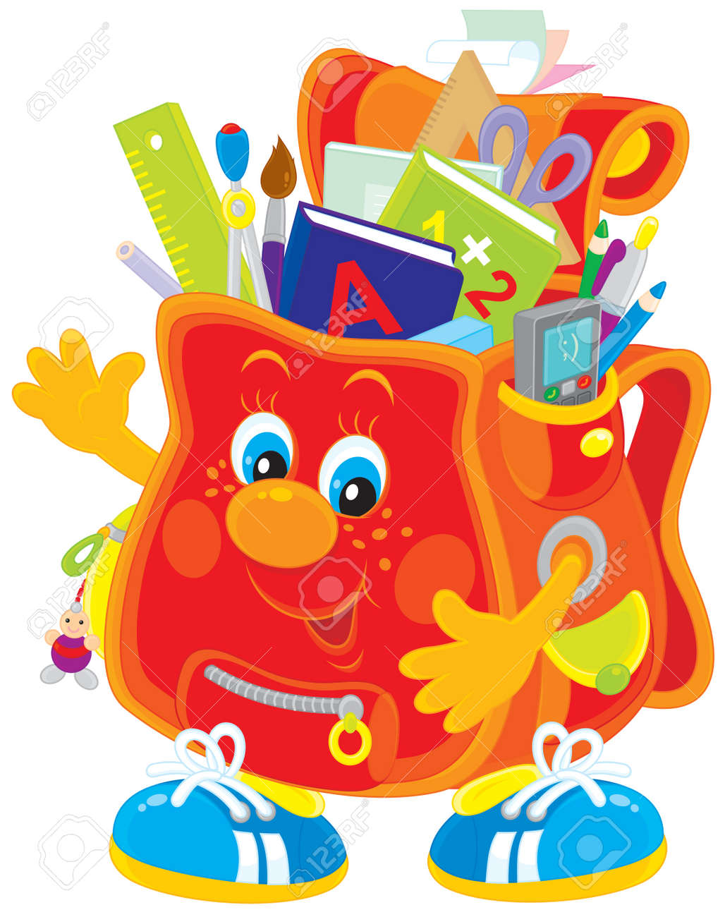 School Satchel With Books And Stationery Royalty Free Cliparts ...