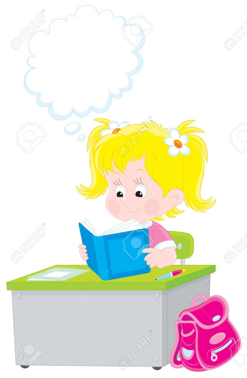 Schoolgirl reading a textbook Stock Vector - 12437677