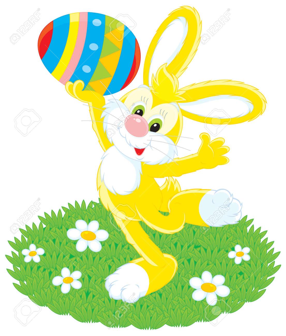 Conejo De Pascua La Celebración De Un Huevo Pintado De Colores ...