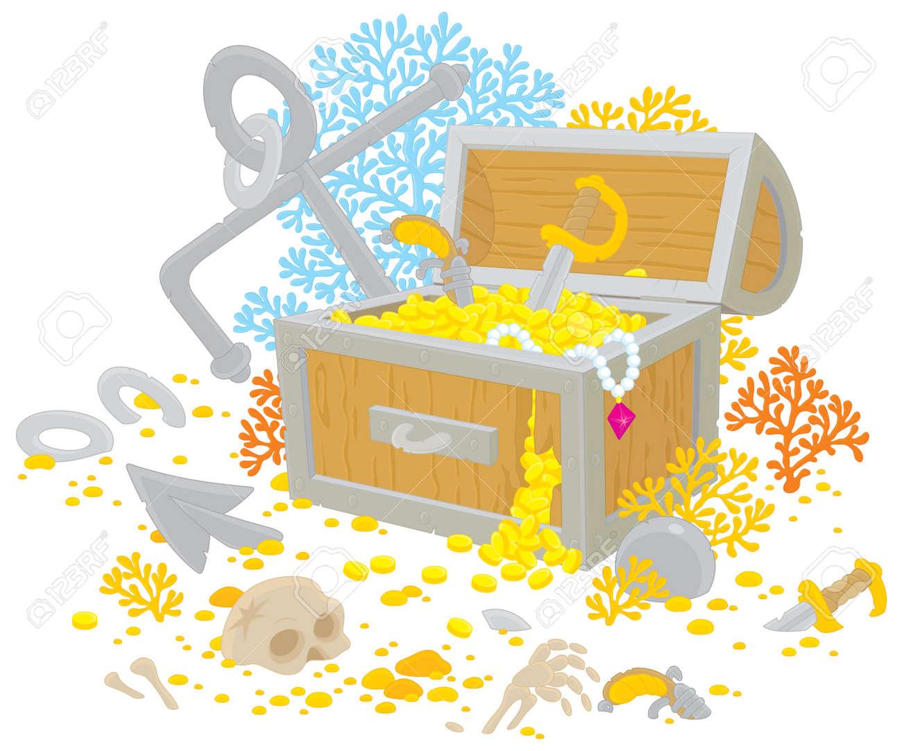Treasure chest of a sunken pirate ship Stock Vector - 13129426