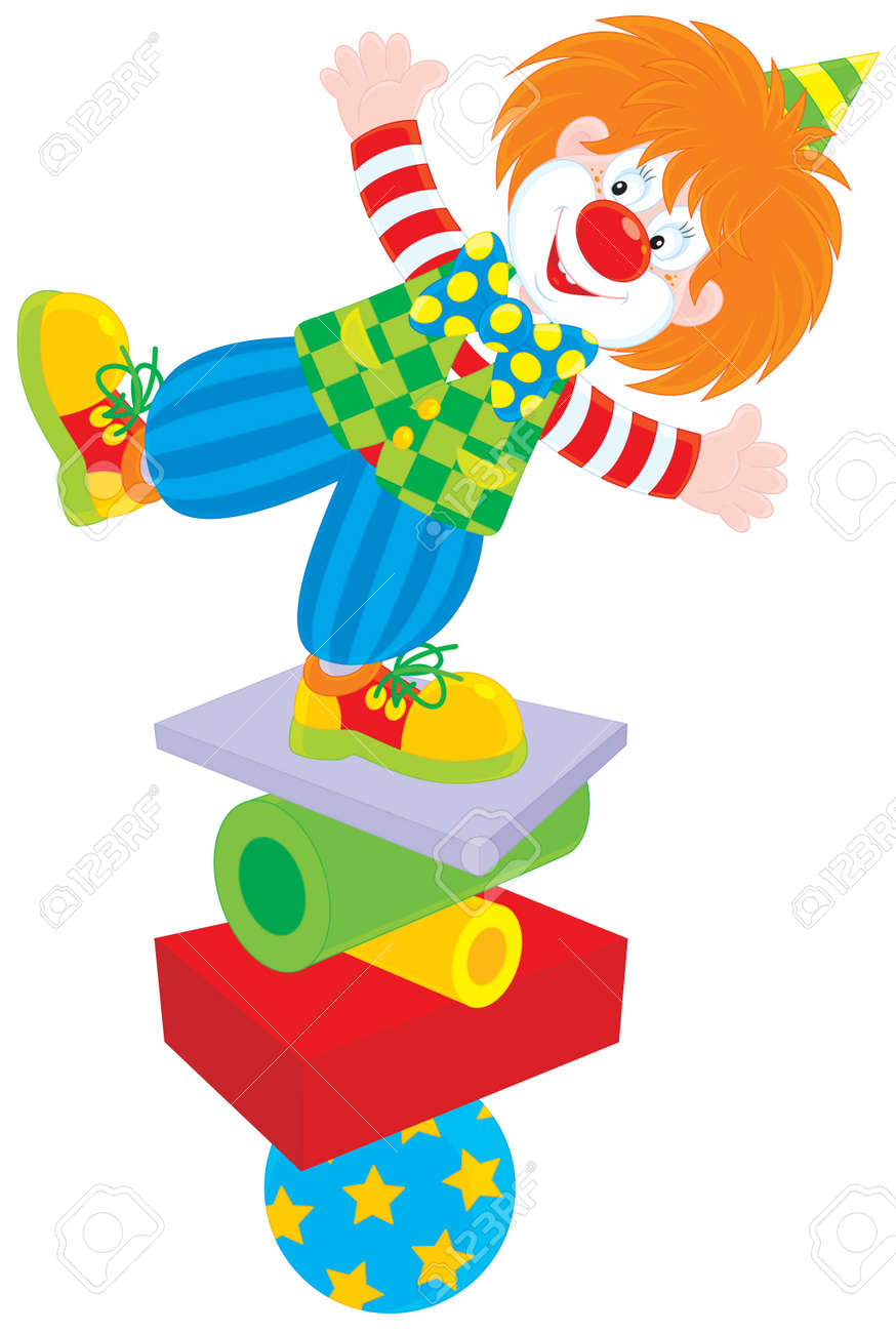 Circus clown equilibrist Stock Vector - 13336565
