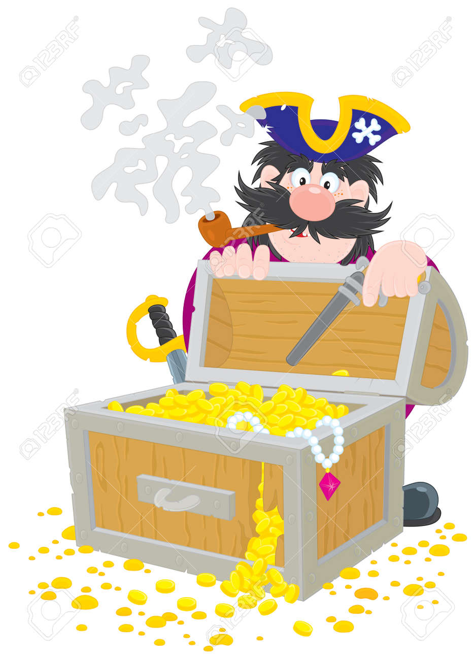 Pirate and treasure chest Stock Vector - 13336567