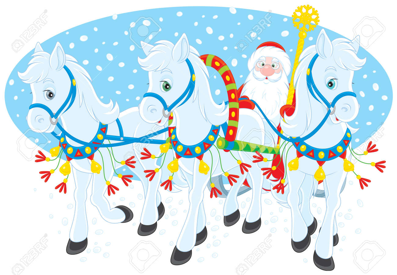 Grandfather Frost driving in his sleigh Stock Vector - 13906884