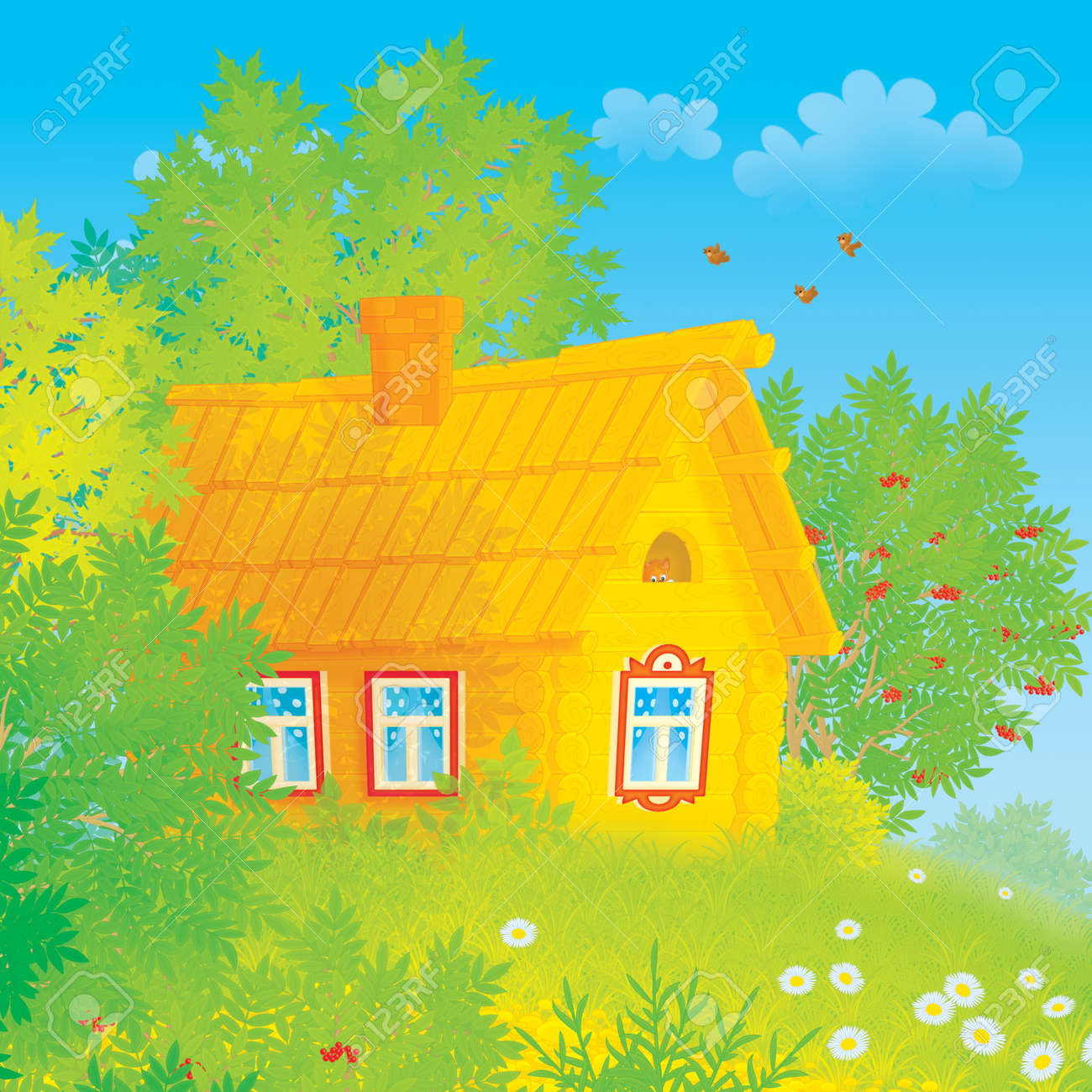 Log rustic house among trees in countryside Stock Photo - 15524895