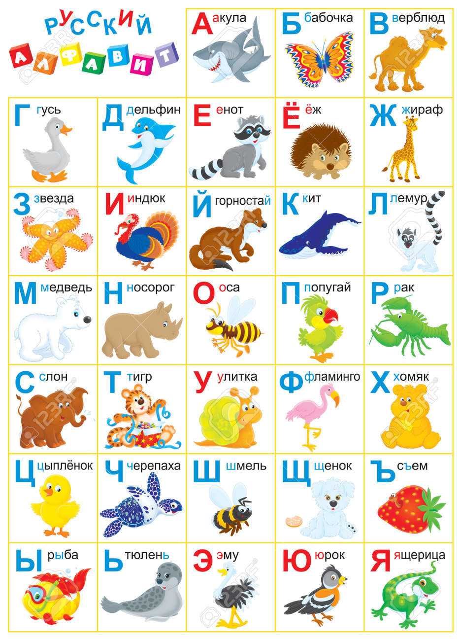 russian alphabet with funny animals for children stock photo