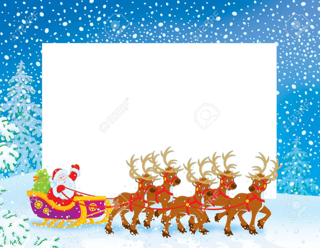 christmas santa border  Christmas Border With Sleigh Of Santa Claus Stock Photo, Picture And ...