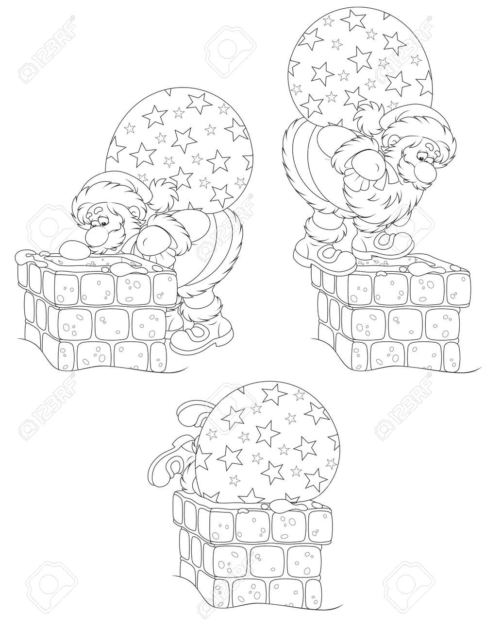 Santa with gifts and chimney Stock Vector - 16480632