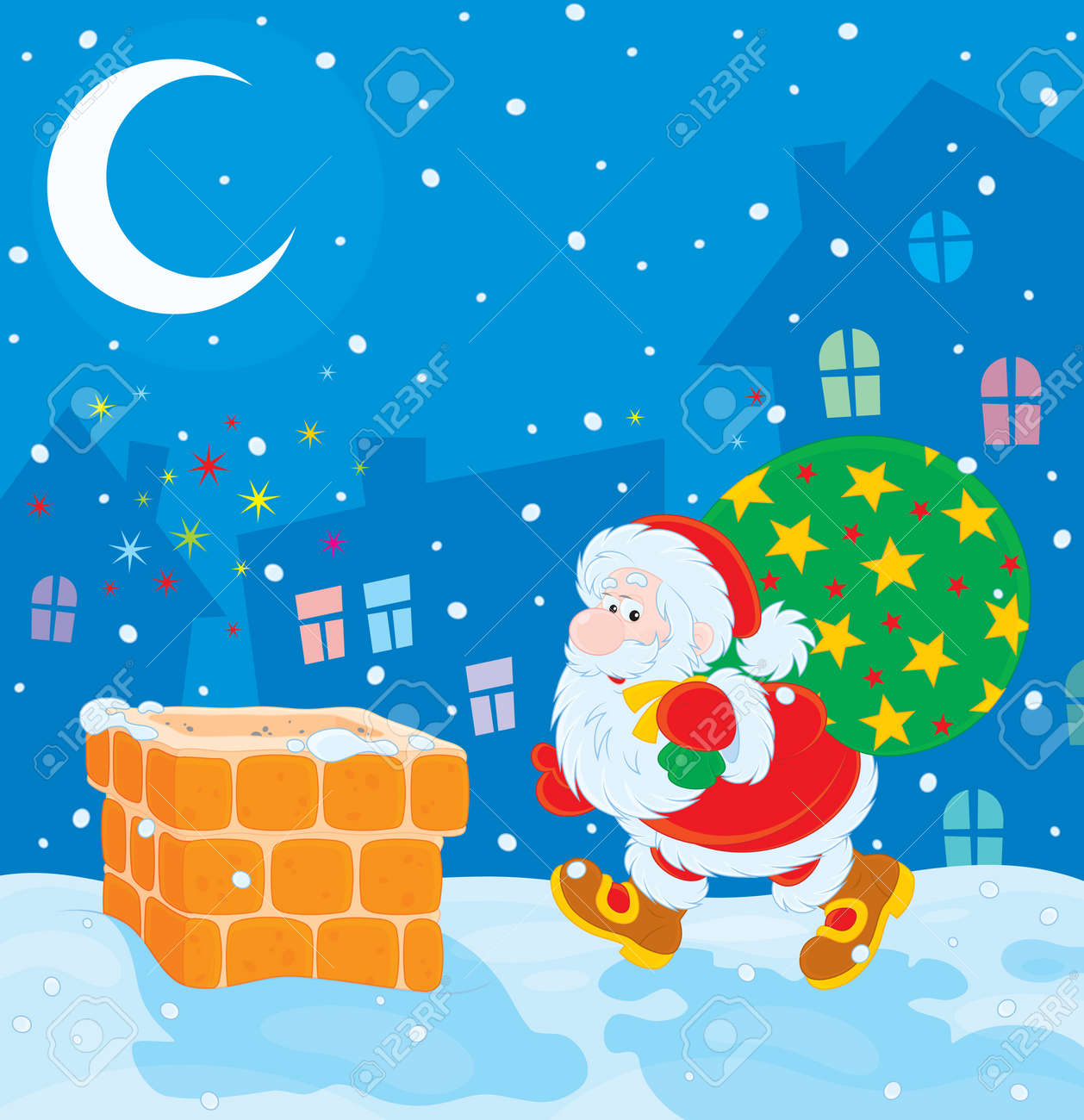 Santa with Christmas gifts on a housetop Stock Vector - 16493741