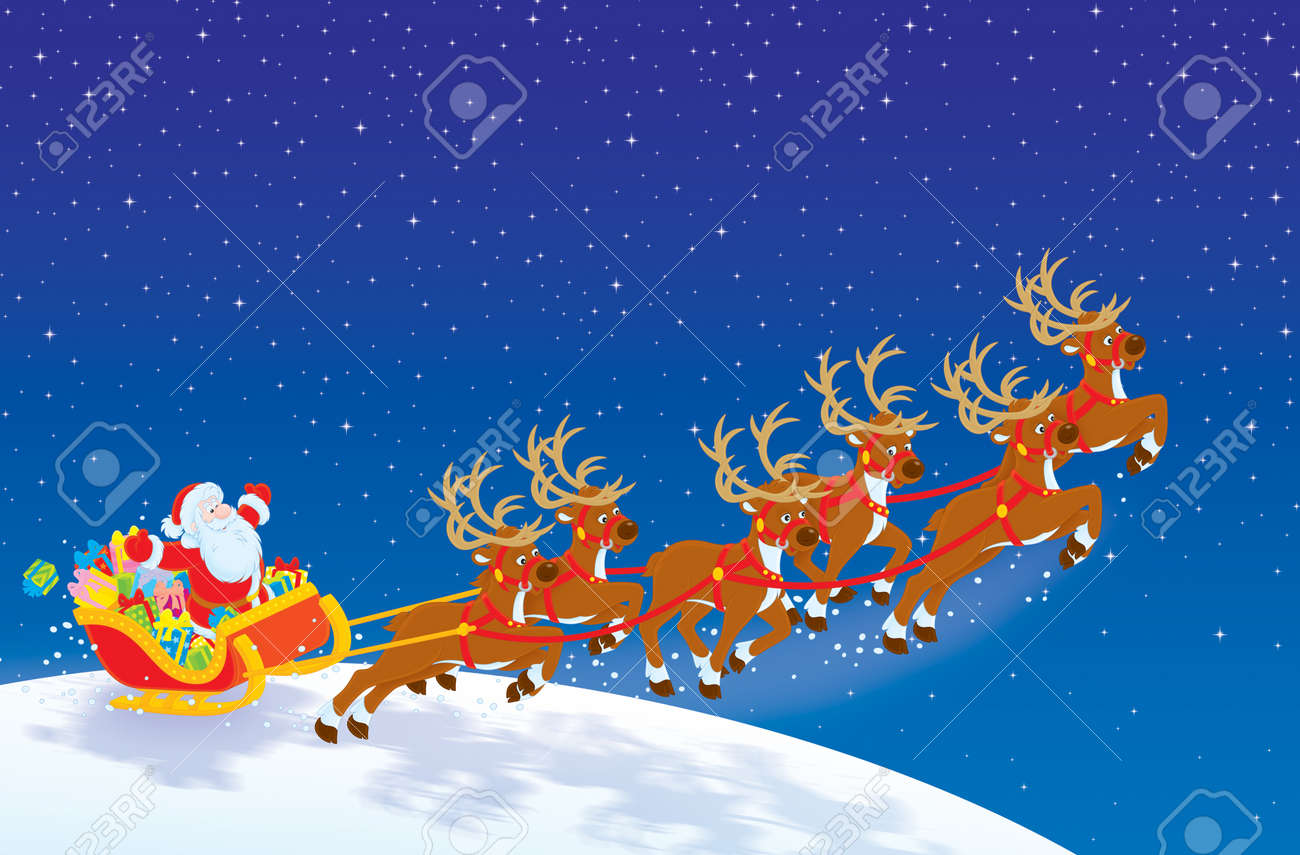 sleigh of santa taking off in christmas night sky stock photo