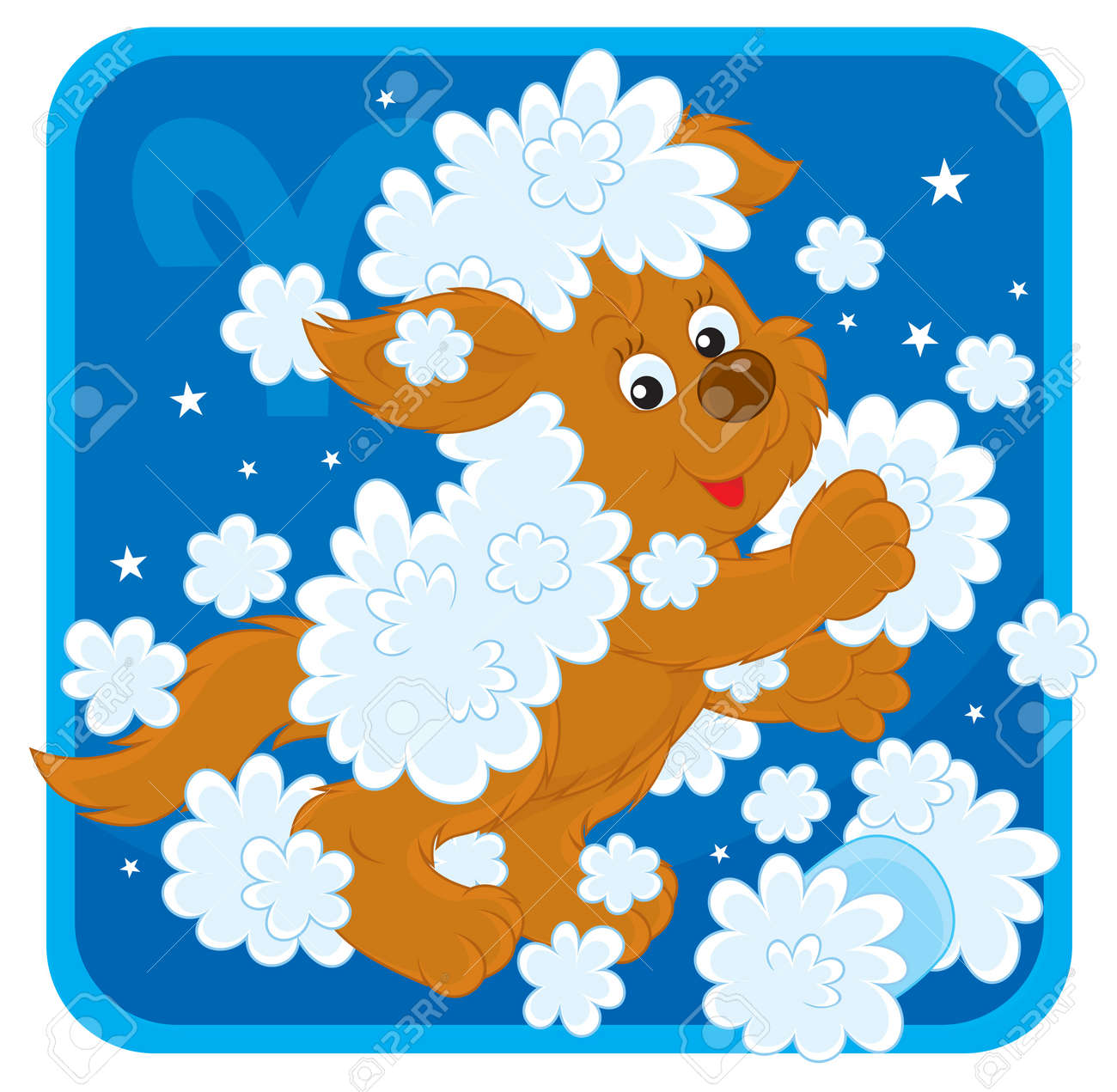Zodiac sign of Aries as a pup playing with wool Stock Vector - 17466021